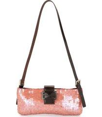 fendi pre-owned sequin-embellished shoulder bag - pink