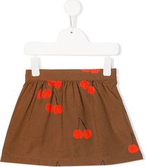 mini rodini cherry print skirt - brown