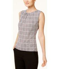 calvin klein printed pleat-neck blouse