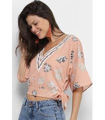 blusa acostamento top cropped floral feminina