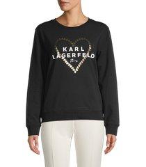karl lagerfeld paris women's heart logo sweatshirt - black - size xs