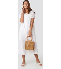 trendyol button striped detailed midi dress - white