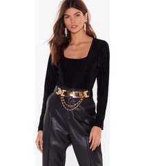 womens smooth on over velvet square neck bodysuit - black