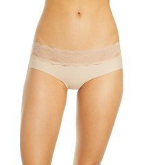 women's b.temptd by wacoal b.bare hipster panties, size small - beige