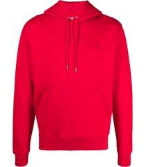 ami alexandre mattiussi red cotton hoodie