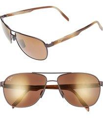 men's maui jim 'castles - polarizedplus2' 61mm aviator sunglasses - matte chocolate
