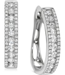 diamond oval hoop earrings (1 ct. t.w.) in 14k white gold