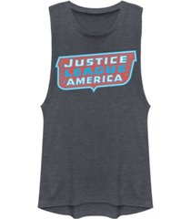 fifth sun dc justice league of america text logo festival muscle women's tank