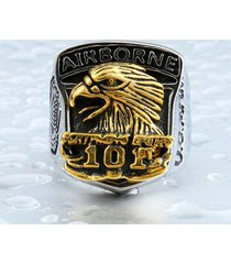 airborne eagle 101 stainless steel & copper man's unique united states army ring