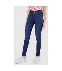calça jeans malwee jegging estonada azul