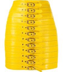 manokhi buckle-detail mini skirt - yellow