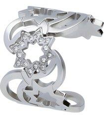 anello acciaio e strass sole e luna per donna