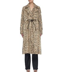leopard print waist tie detail trench coat