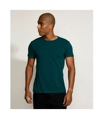 camiseta masculina básica com elastano manga curta gola careca verde escuro