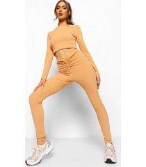 gekreukelde geribbelde crop top en geplooide leggings met v-taille, caramel