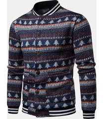 mens christmas trees stampa a righe orizzontali manica lunga sottile fit casual knit jacket
