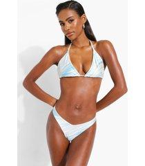 marmerprint driehoekige bikini top, blue