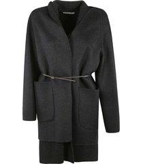 oversize belted plain coat