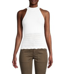 design 365 women's pointelle-knit halter top - white - size l
