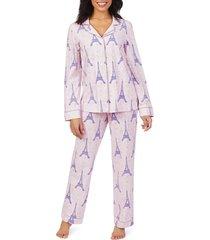 women's bedhead print knit pajamas, size x-large - pink