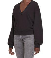women's agolde balloon sleeve crop cotton sweatshirt, size small - black