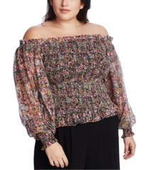1.state trendy plus size smocked off-the-shoulder top