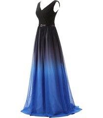 kivary? black v neck sash gradient ombre chiffon long formal prom evening dresse