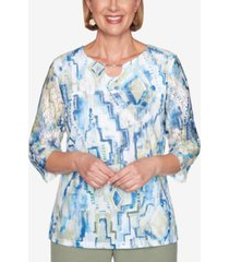 alfred dunner three quarter sleeve geometric watercolor print knit top