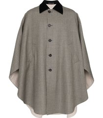 gucci houndstooth long cape - neutrals