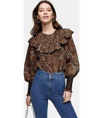 animal print yoke poplin blouse - neutral