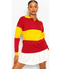 colour block rugby trui met polokraag, rood