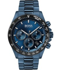 boss men's chronograph hero blue ion-plated stainless steel bracelet watch 43mm