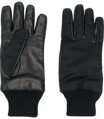 alexander mcqueen zipped pocket leather gloves - black