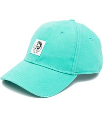 diesel patch-embellished twill cap - blue
