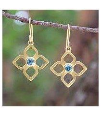 gold plated blue topaz flower earrings, 'thai bloom' (thailand)