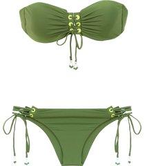 amir slama lace up bikini - green