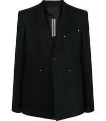 rick owens paneled one-button blazer - black