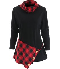 long sleeve cowl neck tartan t-shirt