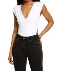 afrm ami rib bodysuit, size medium in blanc at nordstrom