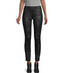 hue women's textured microsuede leggings - black - size s