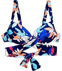 bikini sostén con barba cruzado estampado azul samia