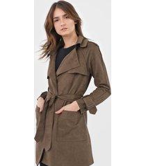 casaco trench coat mob suede verde - verde - feminino - poliã©ster - dafiti
