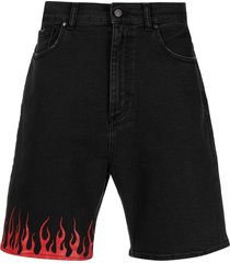 vision of super flame-print denim shorts - black