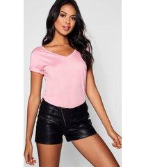 basic super soft v neck t-shirt, powder pink