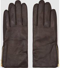 reiss emily - leather zip detail gloves in chocolate, womens, size l