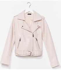 womens that's our moto belted faux leather jacket - blush