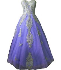 long crystals gold lace tulle ball gown prom evening party dresses lavender us 1