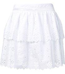 alberta ferretti embroidered flared skirt - white