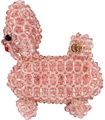 gucci bead-embroidered dog brooch - pink