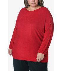 adrienne vittadini women's plus size button trim sweater
